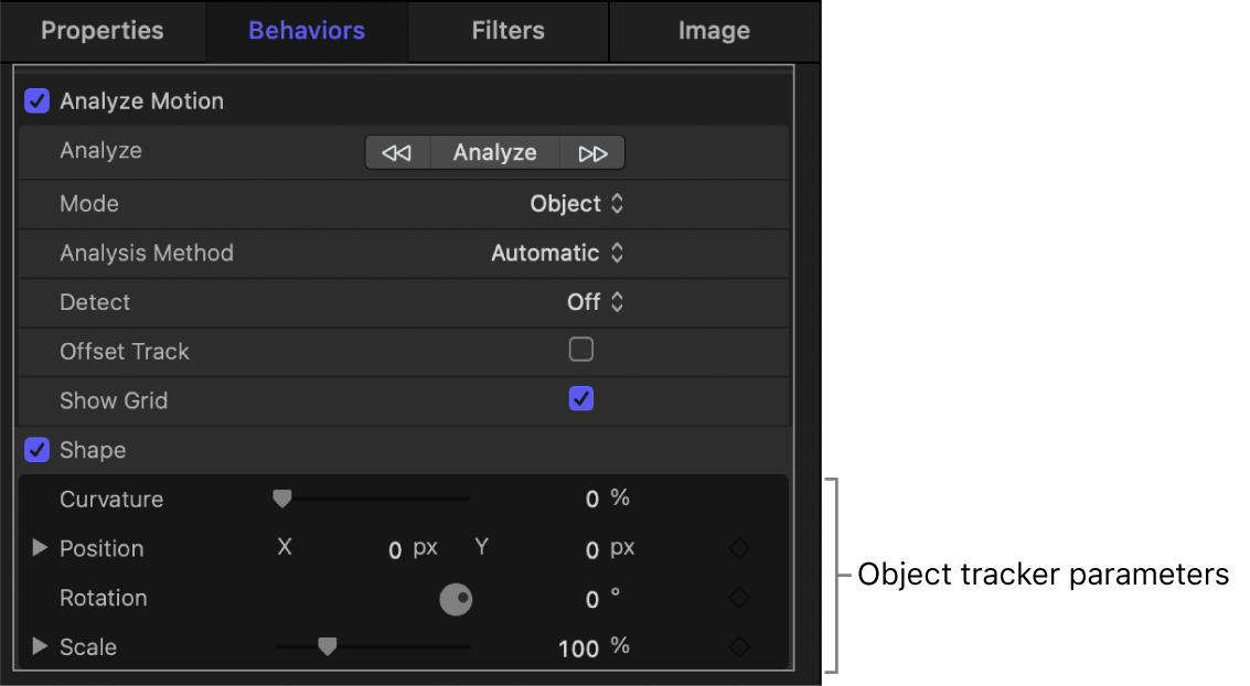 Behaviors Inspector showing object tracker Scale subparameters