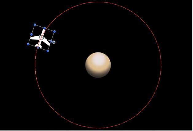 """Lienzo y una ruta de animación creada por el comportamiento """"En órbita"""""""