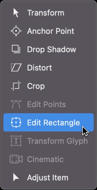 """Selección de la herramienta """"Editar rectángulo"""" en el menú desplegable de herramientas de transformación"""
