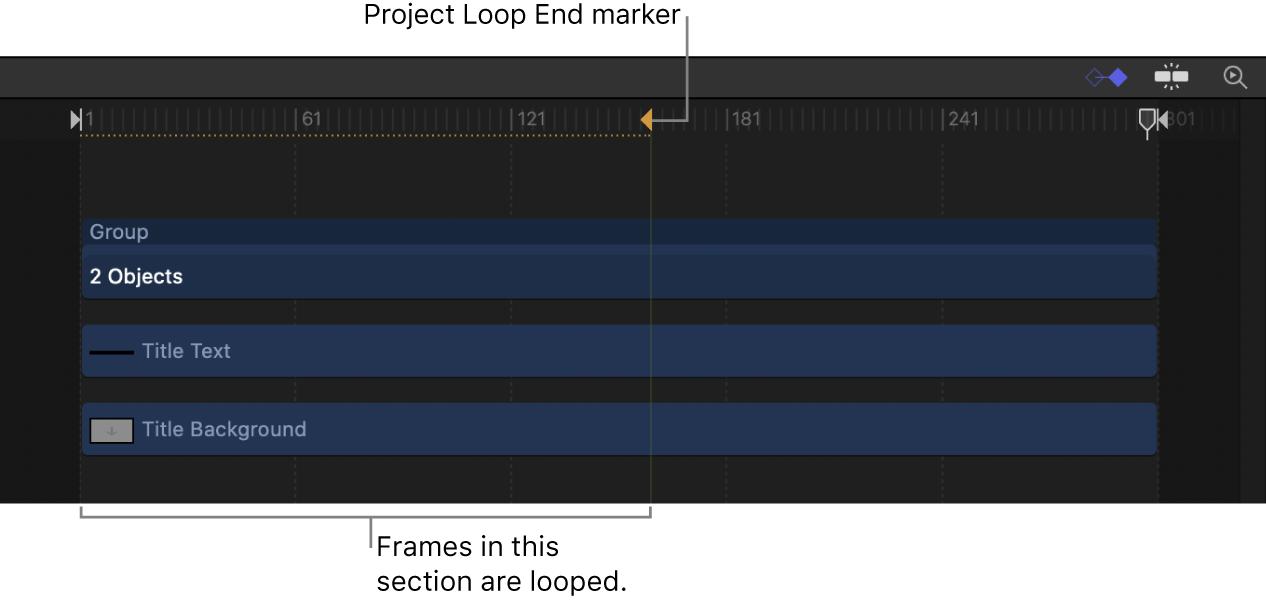 """Marcador """"Fin del bucle del proyecto"""" en la línea de tiempo"""