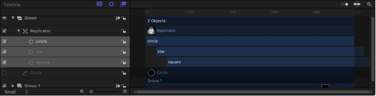 Línea de tiempo y replicador con desviación de tiempo en celdas