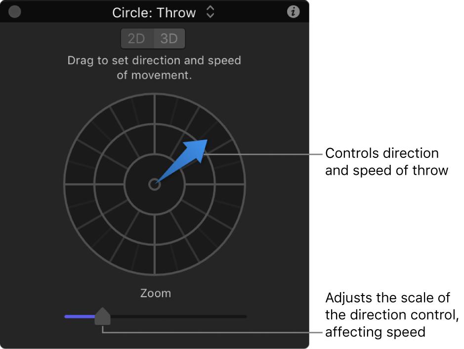 Pantalla semitransparente y controles del comportamiento Lanzar en el modo 2D