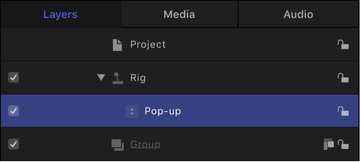Lista Capas con el widget seleccionado
