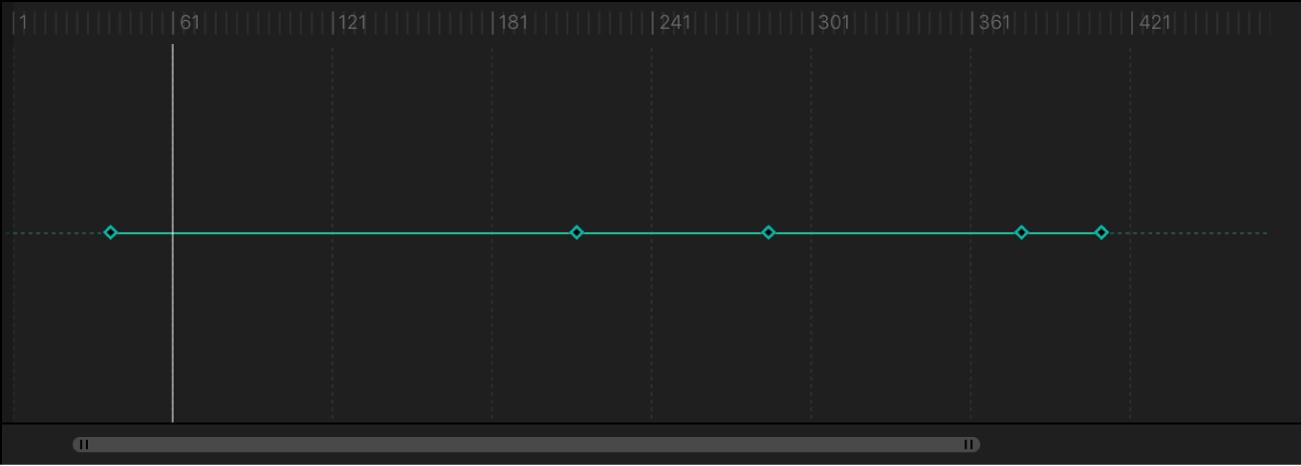 Editor de fotogramas clave con un nuevo fotograma clave añadido en la posición del cursor de reproducción