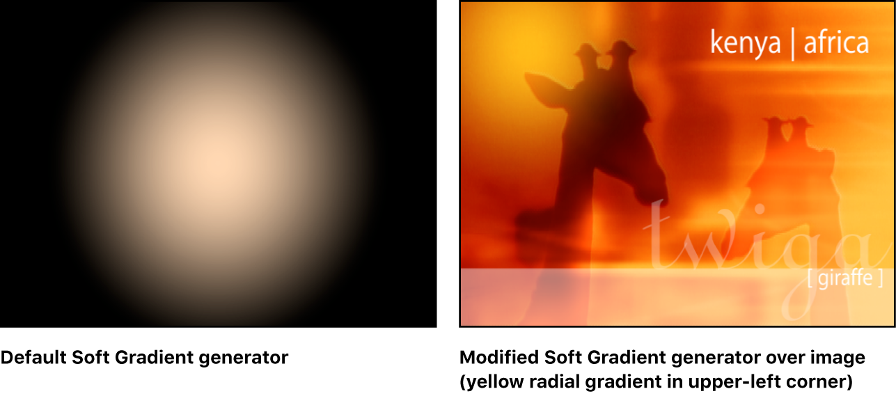 """Ventana del lienzo con el generador """"Gradación leve"""" solo y combinado con otra imagen."""