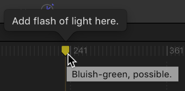 """Cuadro de diálogo """"Editar marcador"""" y línea de tiempo con el nombre personalizado y un comentario"""