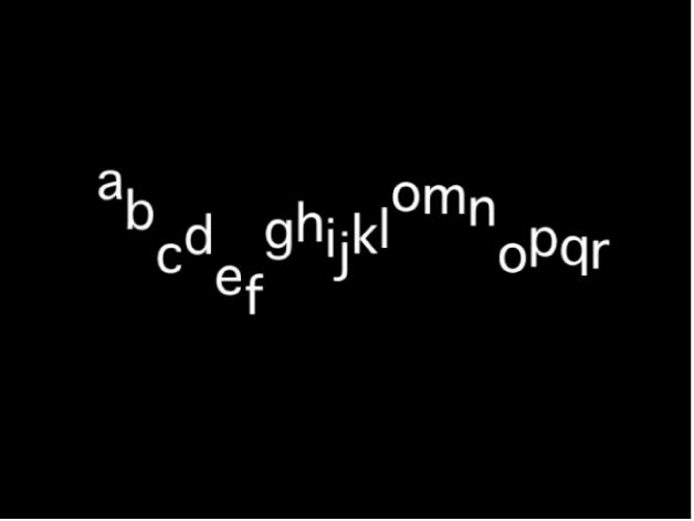 Lienzo donde se muestra una secuencia de texto con una desviación de la posición Y que utiliza un valor de varianza alto.