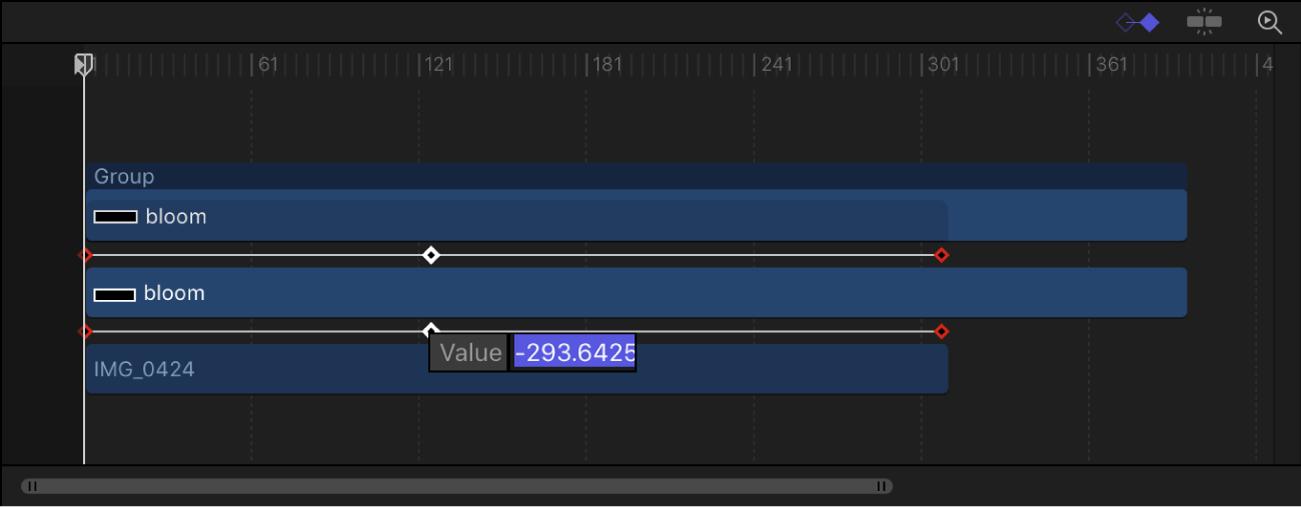 Línea de tiempo con un campo de valor de fotograma clave