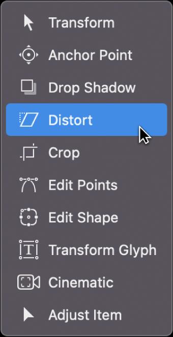 Selección de la herramienta Distorsión en el menú desplegable de herramientas de transformación
