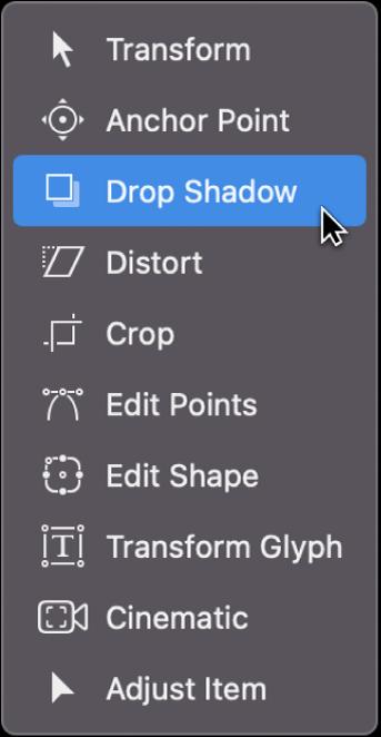 Selección de la herramienta Sombreado en el menú desplegable de herramientas de transformación