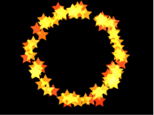 Lienzo y sistema de partículas con figura configurada en Círculo