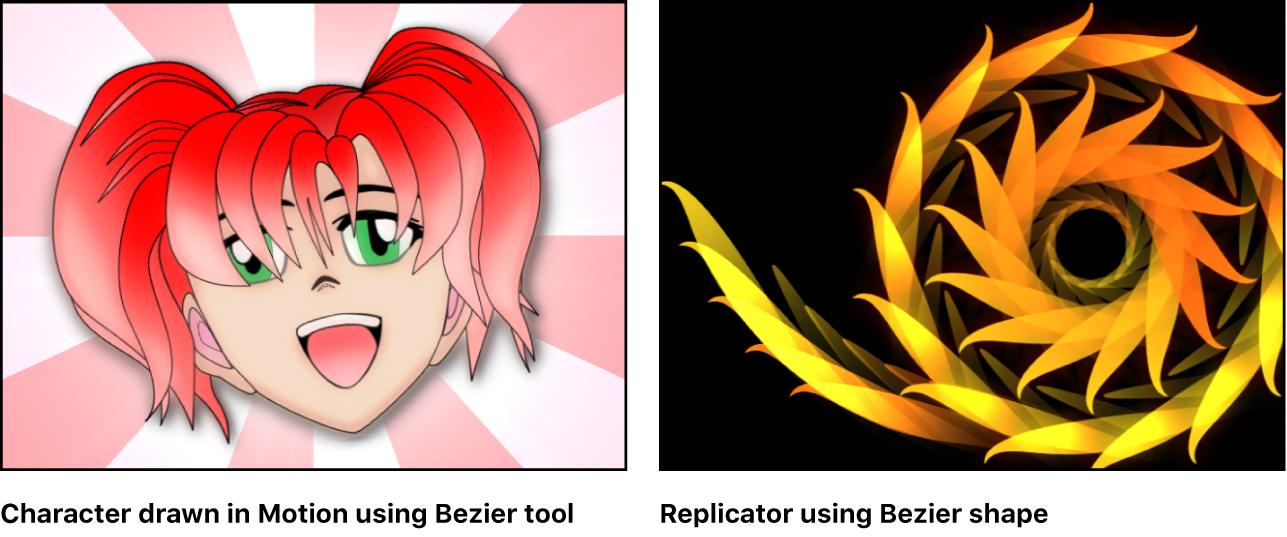 Ejemplos: carácter dibujado con la herramienta Bézier; Replicador creado con la figura Bézier