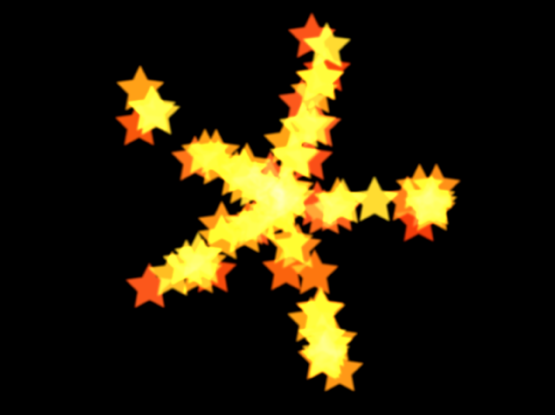 Lienzo y sistema de partículas con figura configurada en Explosión