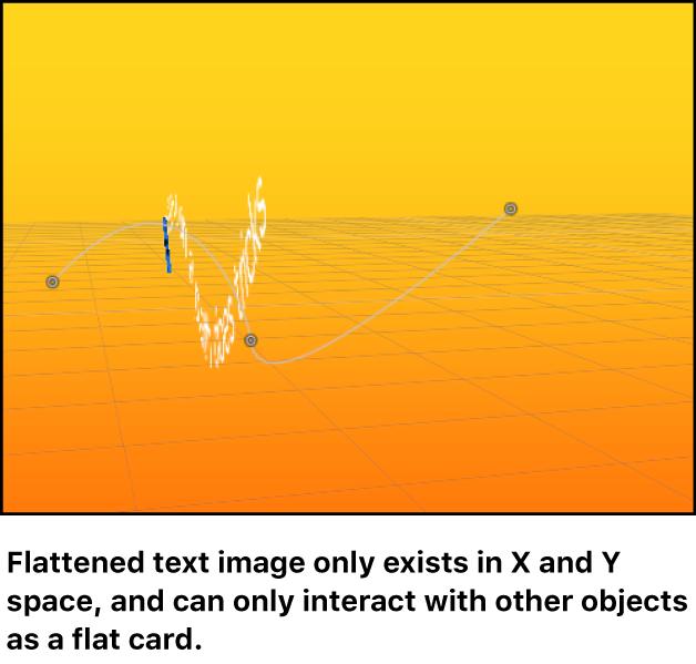 Lienzo y un objeto de texto compactado en el espacio 3D