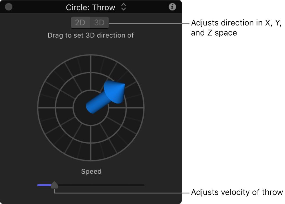 Pantalla semitransparente y controles del comportamiento Lanzar en el modo 3D