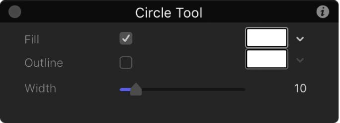 Pantalla semitransparente de la herramienta de círculo