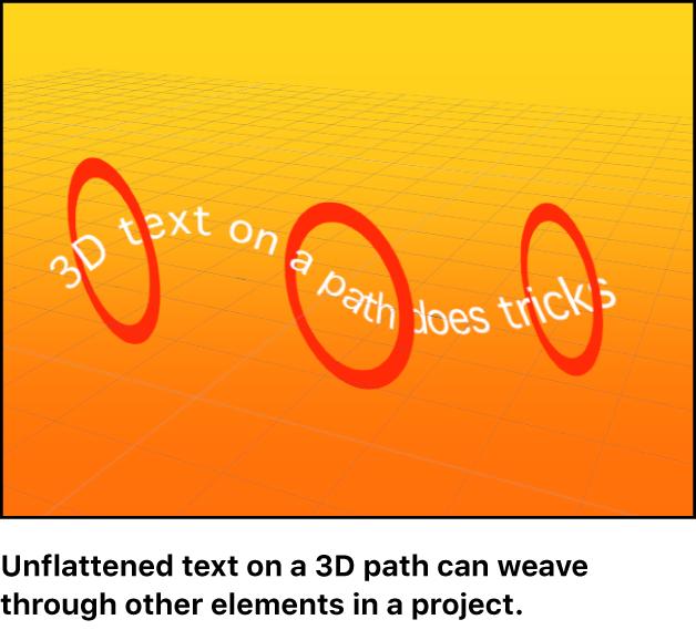 Lienzo y un objeto de texto entrando y saliendo de otros elementos de un grupo 3D