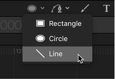 Herramienta de línea en la barra de herramientas del lienzo