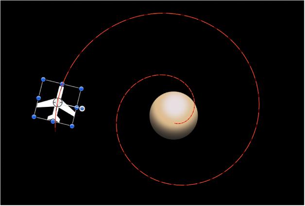 """Lienzo y una ruta de animación creada combinando el comportamiento Mover con el comportamiento """"En órbita"""""""