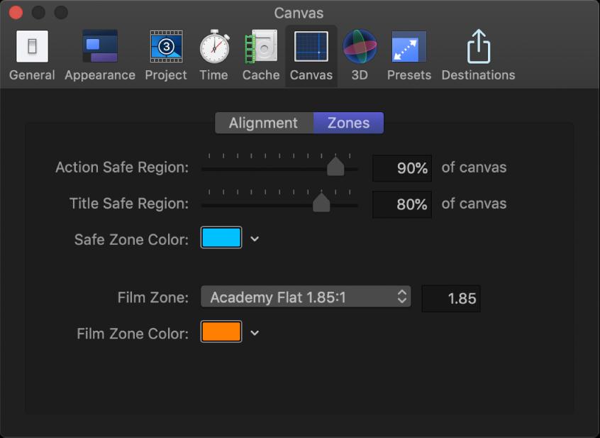 Ventana Preferencias de Motion con el panel Zonas del lienzo
