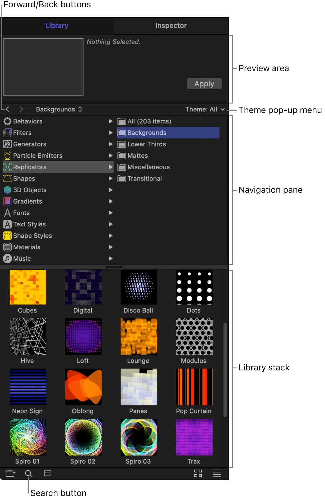 Áreas de la biblioteca: área de previsualización, botones para desplazarse adelante y atrás, menú desplegable Tema, panel de navegación, pila de la biblioteca y botón de búsqueda