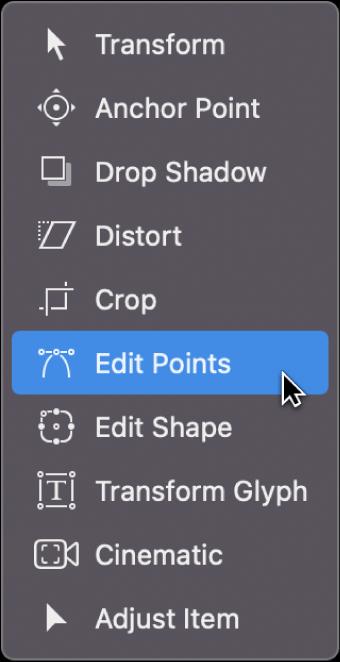 """Selección de la herramienta """"Editar puntos"""" en el menú desplegable de herramientas de transformación"""