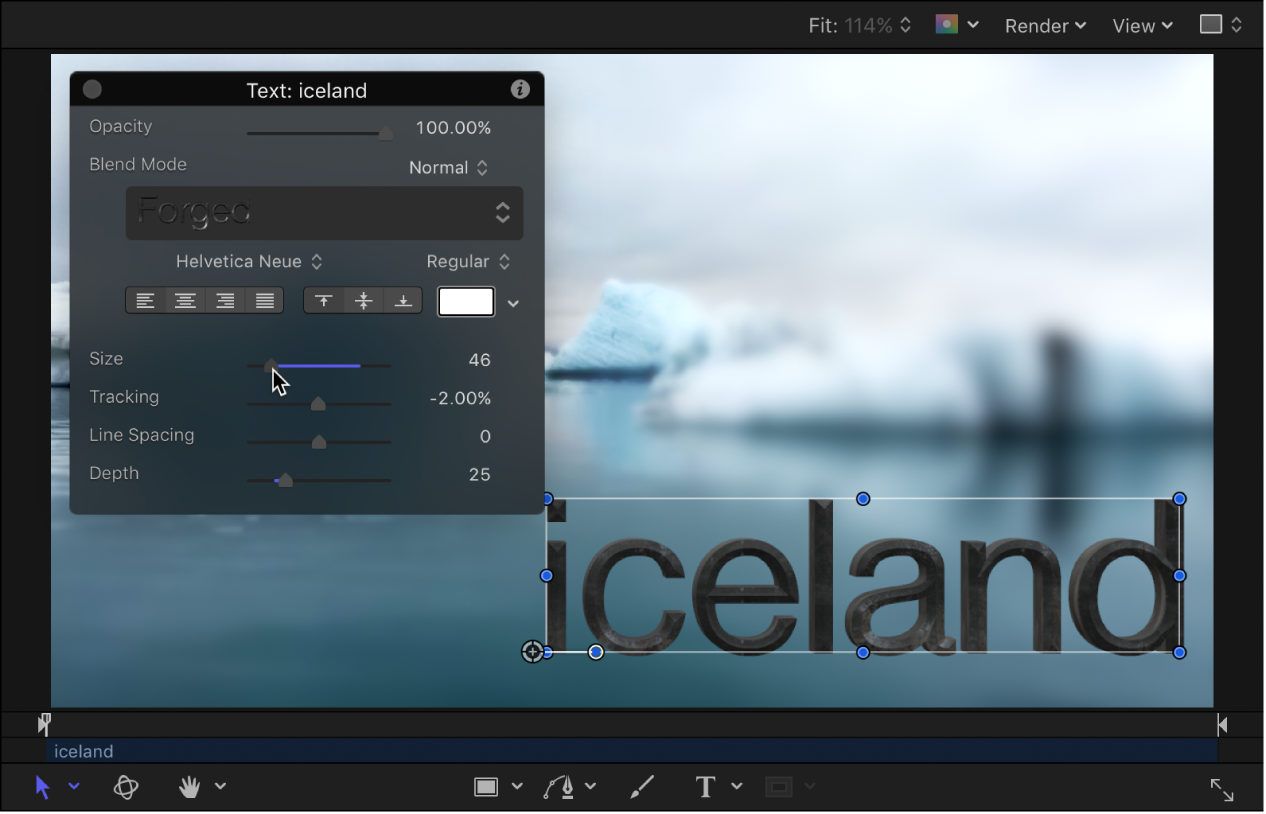 Ajuste de la pantalla semitransparente para cambiar el tamaño del texto 3D.