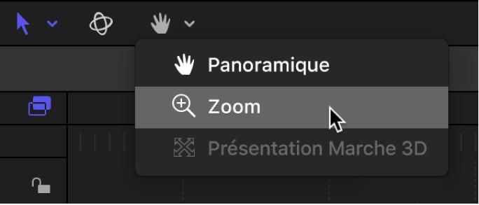 Sélection de l'outil Zoom dans le menu local des outils de présentation