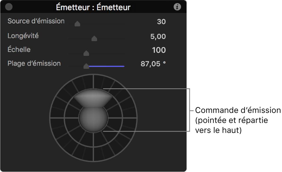 Palette affichant les commandes d'émetteur3D