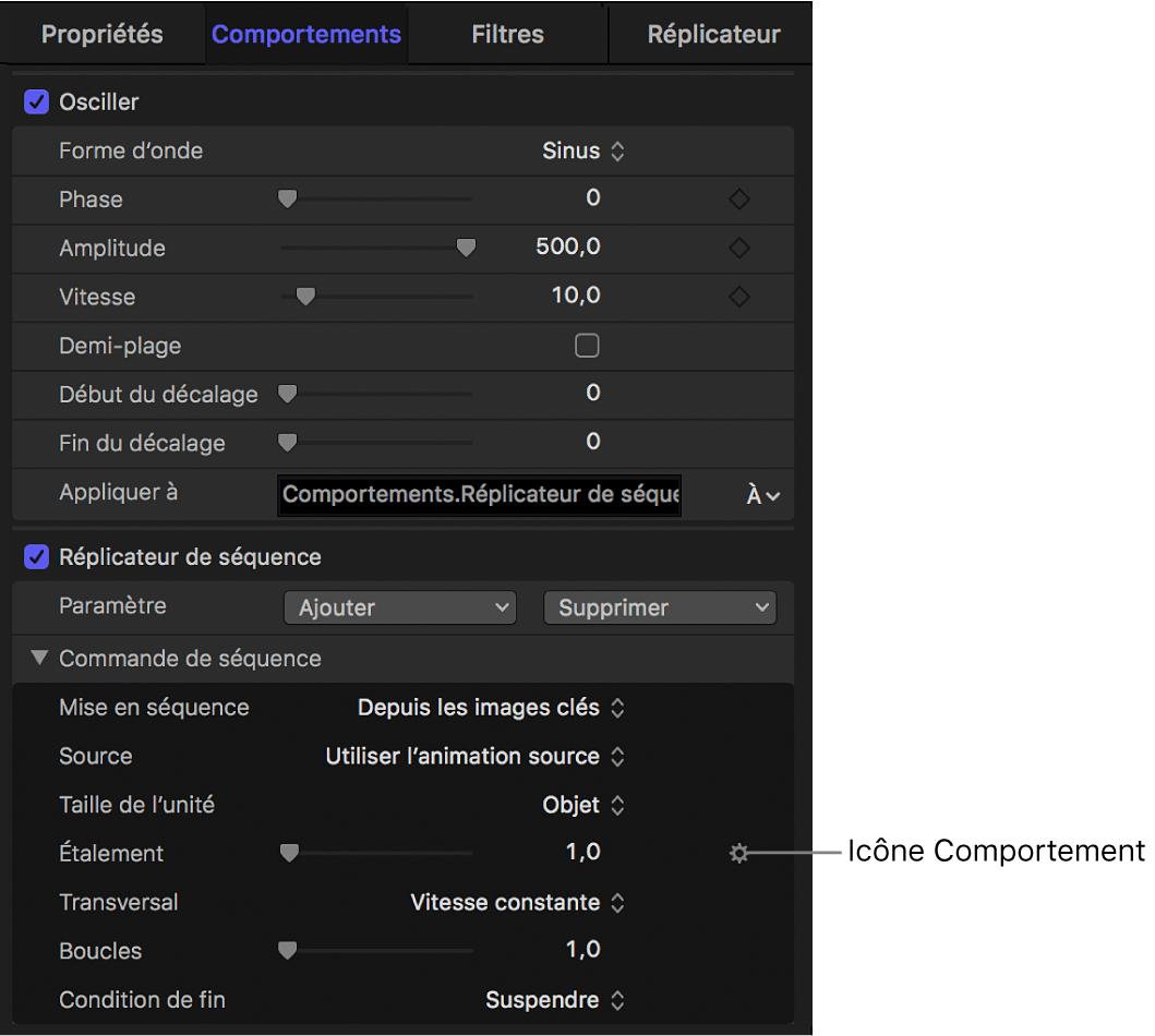 Inspecteur de comportements affichant l'icône du comportement Paramètre dans le menu Animation pour le comportement Réplicateur de séquence