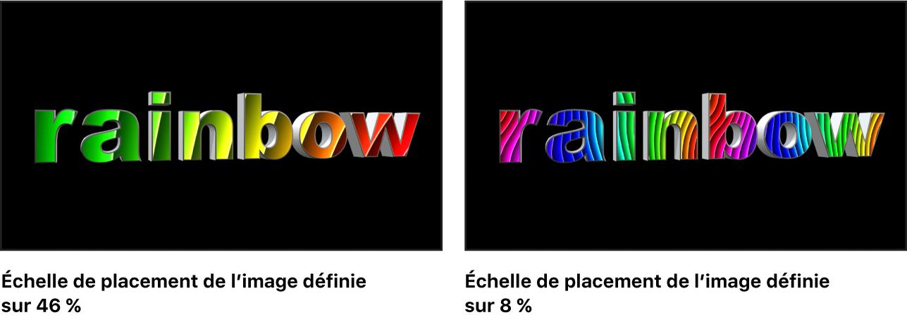 Canevas affichant un texte3D avec une image positionnée dont l'échelle est réglée sur 80% et une autre dont l'échelle est réglée sur 22%