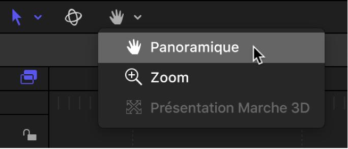 Sélection de l'outil Balance dans le menu local des outils de présentation