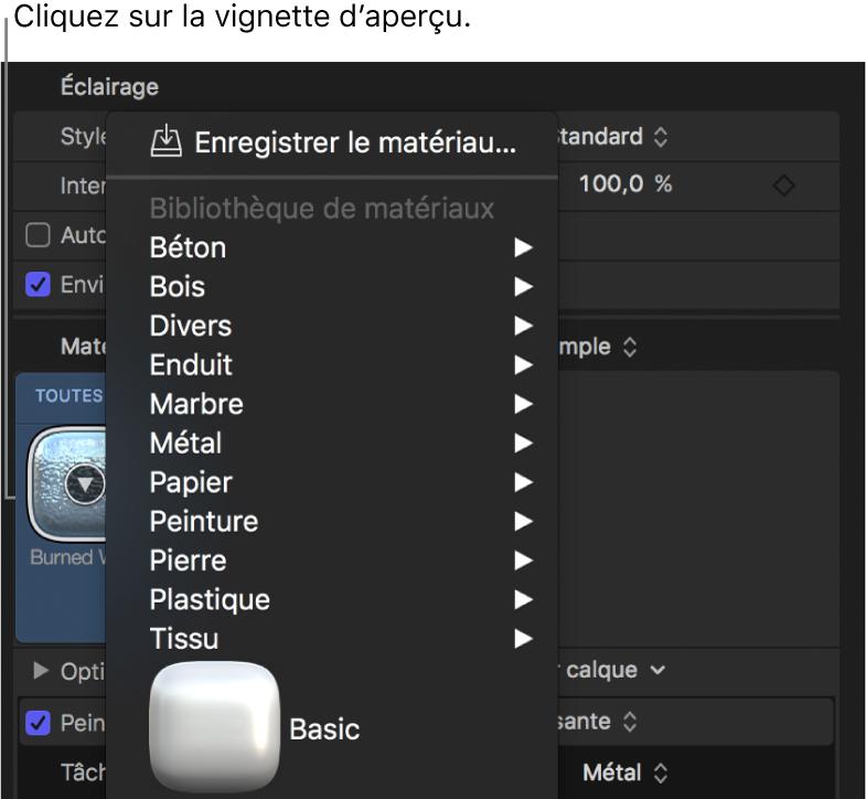 Options présentées lorsque vous cliquez sur la vignette d'aperçu Matériau dans la fenêtre Apparence de l'inspecteur de texte