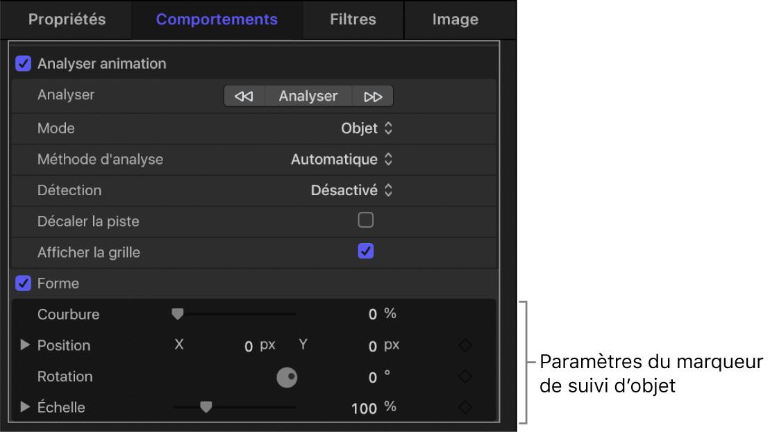 Inspecteur de comportements affichant les sous-paramètres Échelle du marqueur de suivi de l'objet