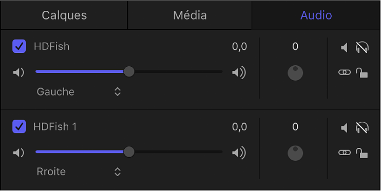 Liste Audio affichant des canaux stéréo