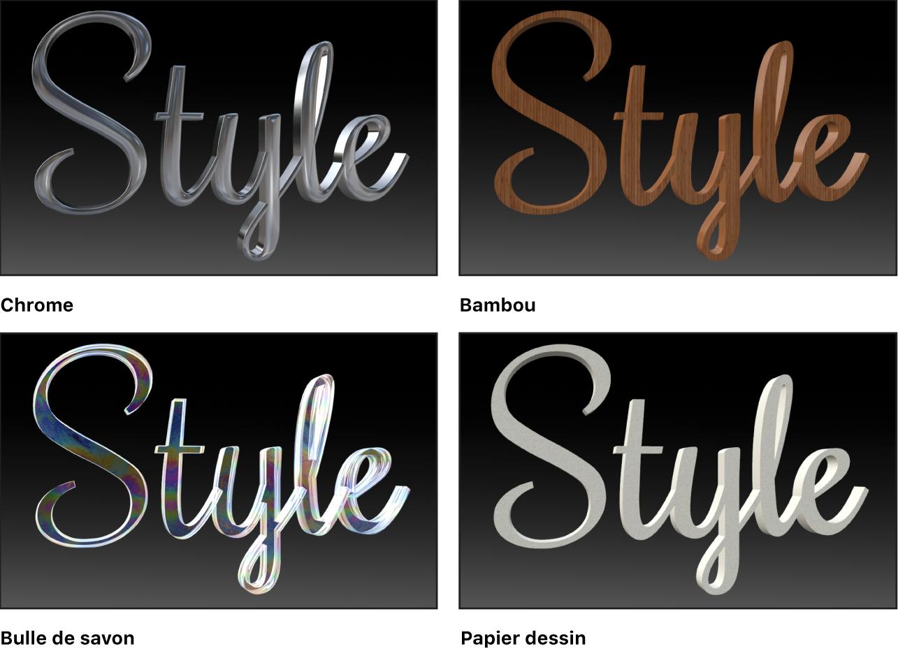Canevas affichant quatre styles de matériau différents (Chrome, Bambou, Bulle de savon et Papier dessin)