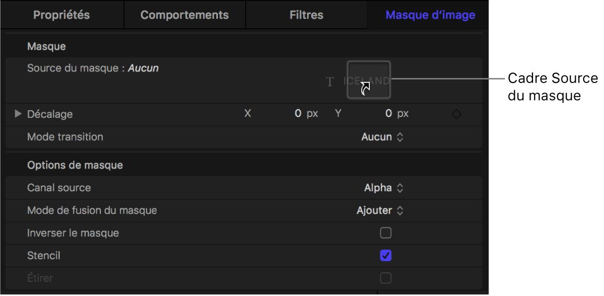 Inspecteur de masque d'image affichant un objet glissé sur le cadre d'image Source du masque
