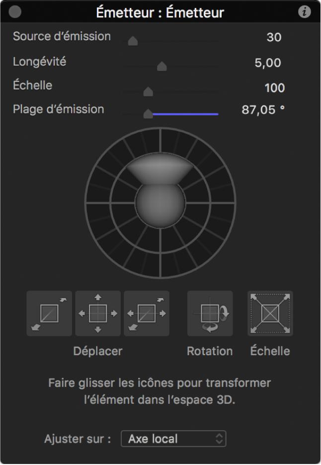 Palette affichant les commandes d'émetteur lorsque l'outil Ajuster transformation3D est sélectionné