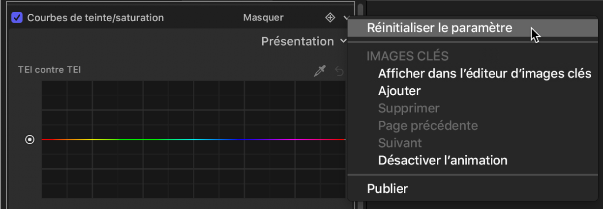 Inspecteur de filtres affichant l'option «Réinitialiser le paramètre» dans le menu Animation