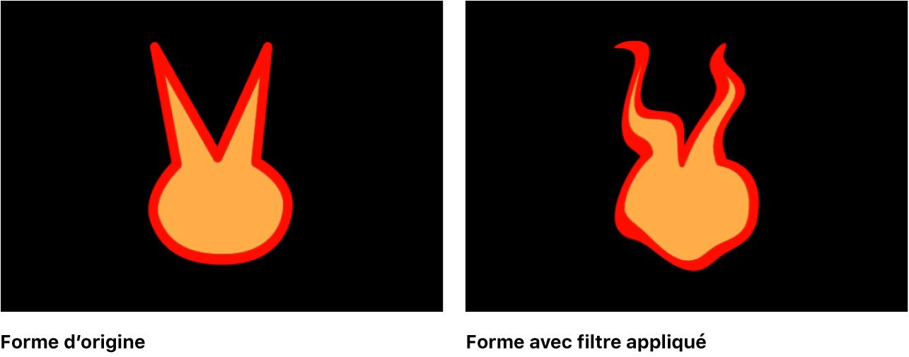 Canevas affichant une forme avec un filtre appliqué