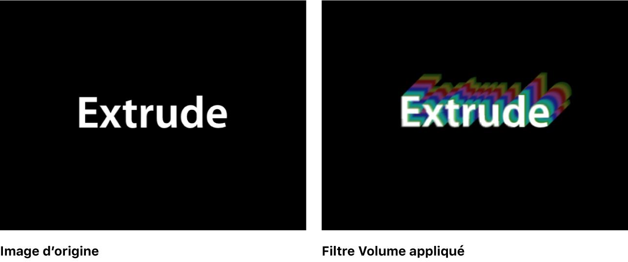 Canevas affichant l'effet du filtre Volume