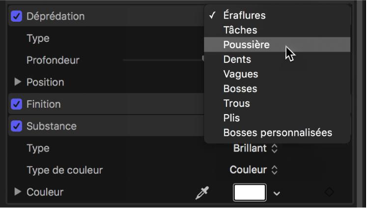 Inspecteur de texte3D affichant le menu local Déprédation