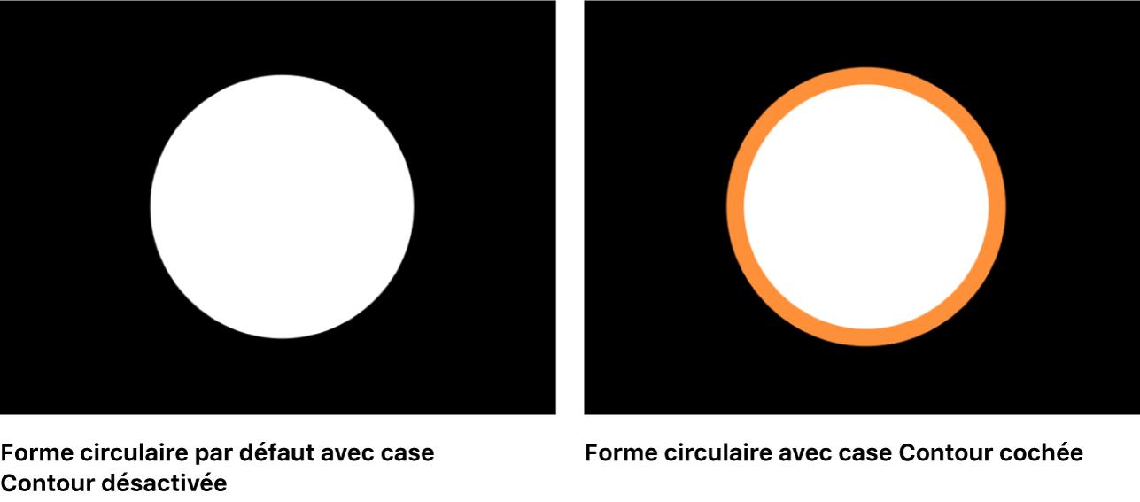 Canevas affichant une forme circulaire avec et sans la case Contour cochée