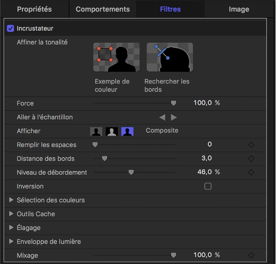 Paramètres du filtre Incrustateur
