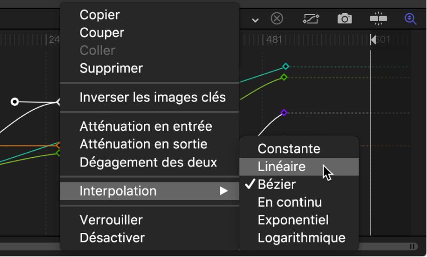 Éditeur d'images clés affichant le sous-menu Interpolation pour le segment de courbe