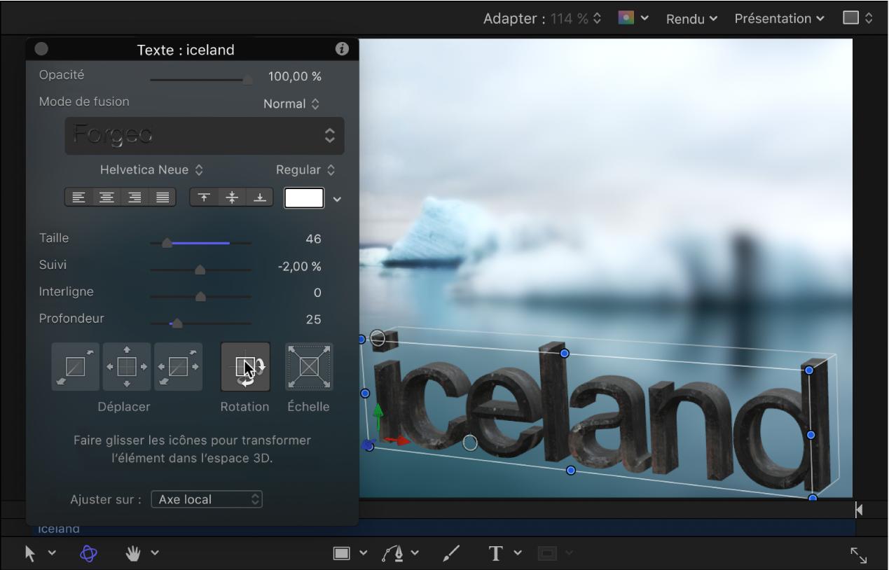 Ajustement dans la palette3D pour faire pivoter le texte3D.