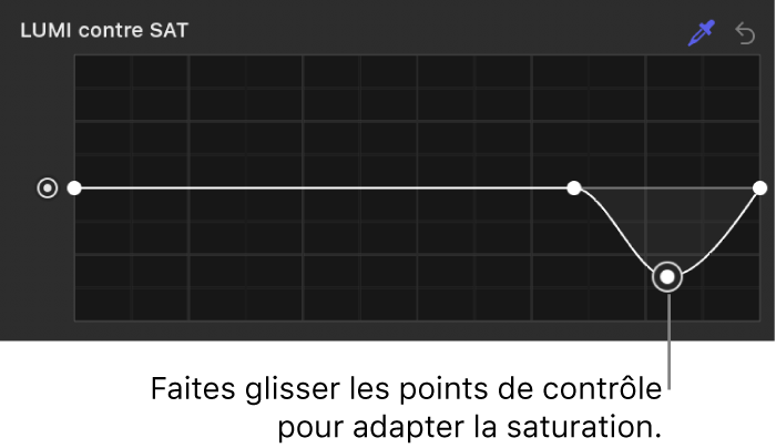 Inspecteur de filtres affichant des points de contrôle ajustés sur la courbe Luminance contre saturation