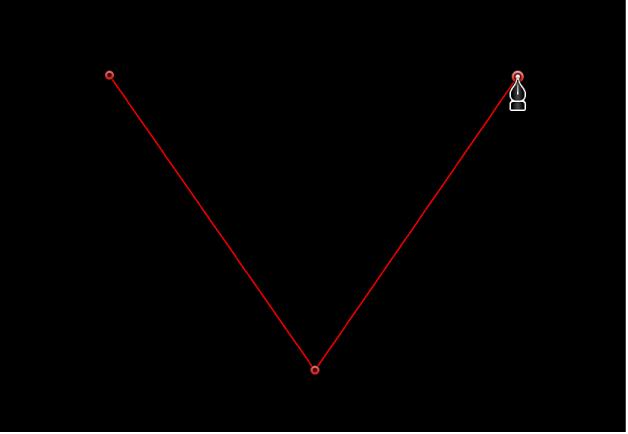 Canevas affichant un point d'angle linéaire