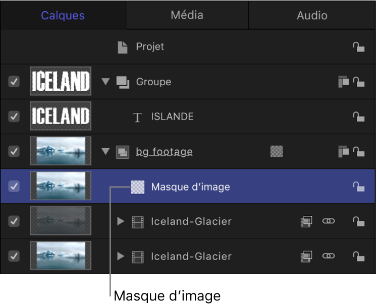 Liste Calques comprenant un objet avec un masque d'image qui lui est appliqué