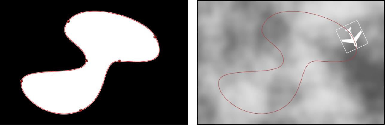 Canevas affichant un calque de forme utilisé comme source pour le comportement Trajectoire d'animation
